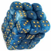 Teal & Gold Phantom 12mm D6 Dice Block
